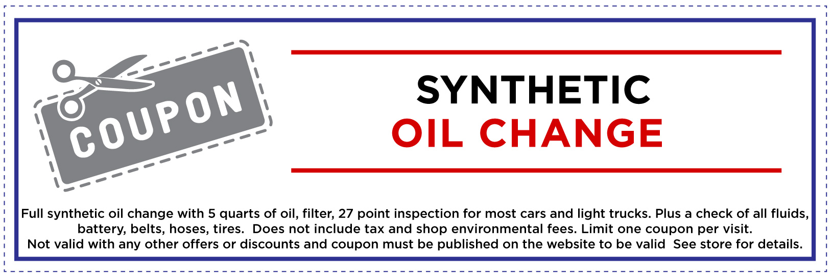 Synthetic Oil Change Coupon for Website